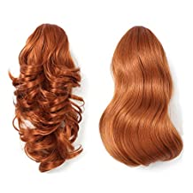OneDor 15 Inch Dual Use Curly Styled Clip in Claw Ponytail Hair Extension Synthetic Hairpiece 130g with a Jaw/claw Clip (130A-Fox Red)