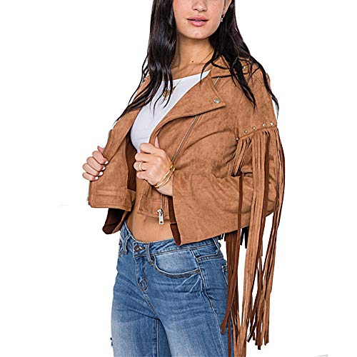 Light So Shine Womens Fringe Studded Faux Suede Moto Jacket(NT170604) (Camel, Large)