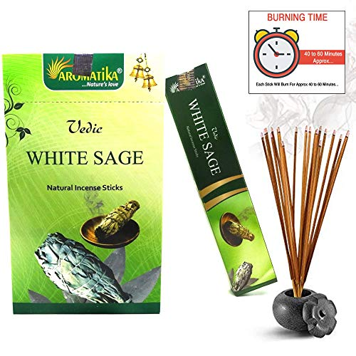 Aromatika vedic White Sage natural masala incense sticks Pack of 180 gm (15  gm x 12 box) | hand rolled in India | recommending for positive energy at