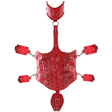 fa4eaccc6e6 Image Unavailable. Image not available for. Color  Red Leather Body Harness  Bra Adjustable ...