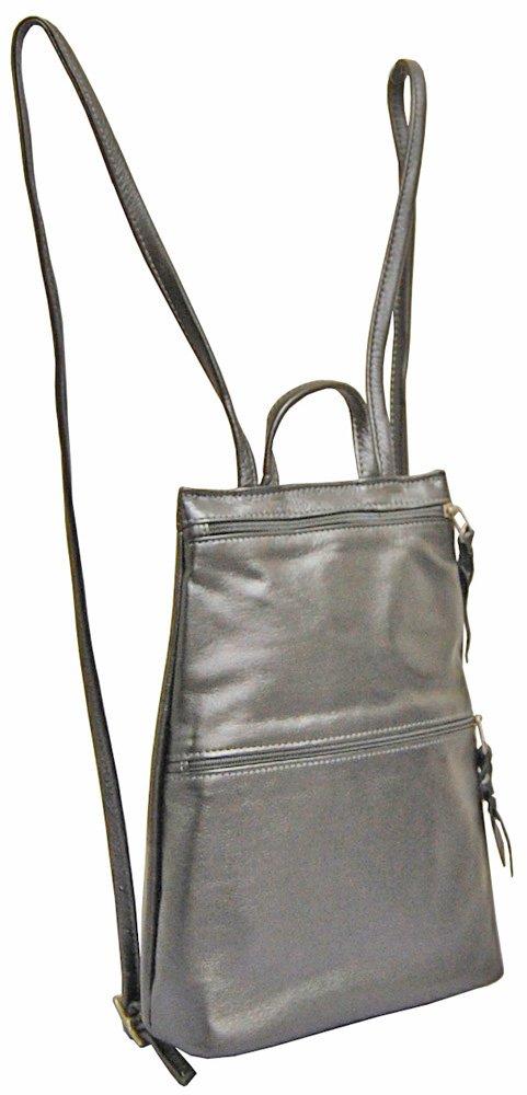 Sven Handbags Slim Lea Backpack - 326 Dark Pewter