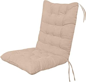 Rocking Chair Cushion with Ties,Indoor/Outdoor Non-Slip Seat, High Back Patio Chair Cushion Replacement Mat, Soft Thickened Patio Chaise Lounger Swing Bench Cushion, Garden Recliner Chair Pads