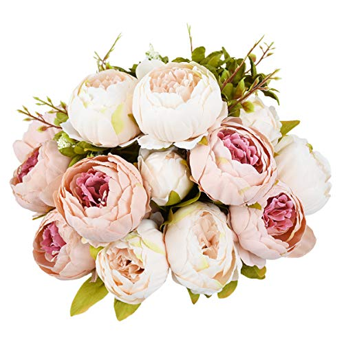 Sunm boutique 2 Pcs Artificial Peony Silk Flower Leaf Home Bridal Wedding Party Festival Bar Decor (Pink, 2 Pcs) ()