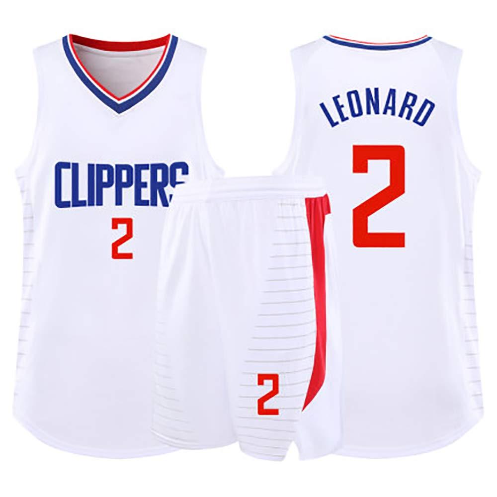 Regalo de Ropa de Baloncesto para ni/ños Camiseta Los Angeles Clippers No 2 Camiseta Estrella de Kawhi Leonard Camiseta Swinger de Malla de Baloncesto,