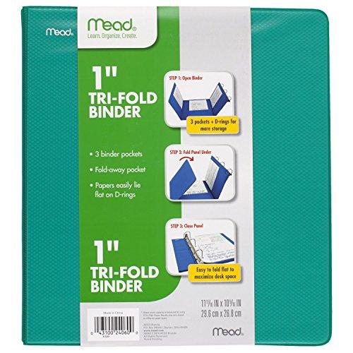 Mead 1 Inch 3 Ring Binder, Tri-Fold, Green (38862)