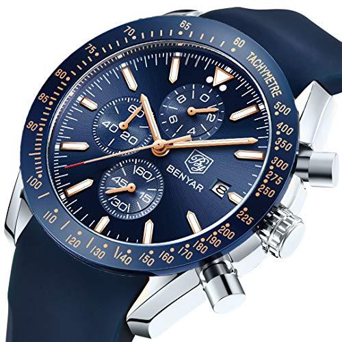 (BENYAR Men's Luxury Business Casual Fashion Classic Comfortable Waterproof Quartz Chronograph Men's Watch (Silver Blue))