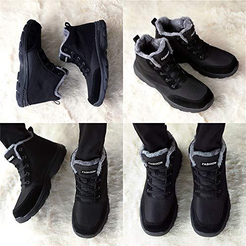 Da Donna J Scarpe Antiscivolo Nero amp;t Neve Impermeabile Stivali Caviglia All'aperto Invernali Caloroso Allineato Uomo Piatto Escursionismo Pelliccia Boots rWqwqEXY