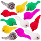 Yangbaga Real Fur Mice Rattle with Long Hair 12 Pcs, Colorful Rabbit Feather Cat Toys, Best Gift for Cats and Kittens