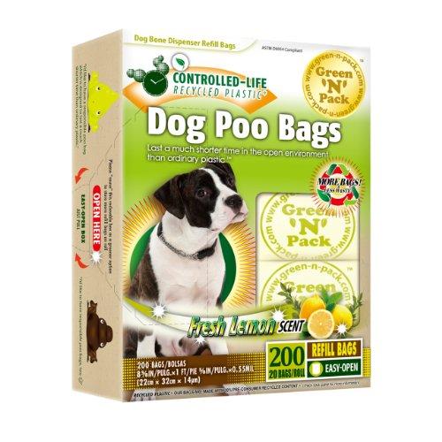 Green N Pack Dog Waste Bone Dispenser Refill Bags in 10 Refill Rolls, Fresh Lemon Scent, Value Pack, 200-Count