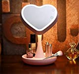 LUCKY CLOVER-AValentine's Day Xmas Gift Princess Makeup Mirror 7 color heart-shaped Table Lamp LED Portable Touch Screen Cordless Adjustable Desk Night Light , Pink