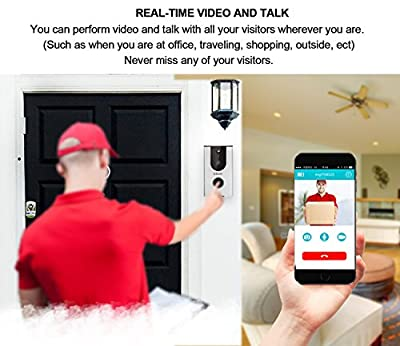 ERAY WiFi Wireless Enabled Video Doorbell Smart Home Security Camera IP65 Waterproof, iOS & Android APP, IR Night Vision, Cloud Storage, Built-in 8G TF Card, Support Tamper Alarm