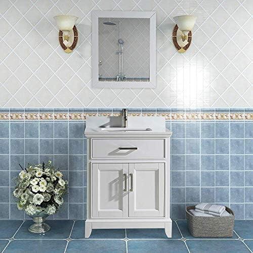 Vanity Art 24 Inch Single Sink Bathroom Vanity Set Super White Phoenix Stone Soft Closing Doors Undermount Rectangle Sink with Free Mirror – VA1024-W