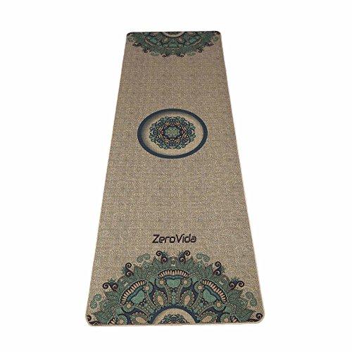 Tapis de Yoga Lin Naturel Antidérapant Indien Exotiques Caoutchouc Ecologique Non-toxique Résistant à La Sueur Idéal pour le Hot yoga Bikram Ashtanga Pilates Sac incluse 183*61*0.5cm Zerovida