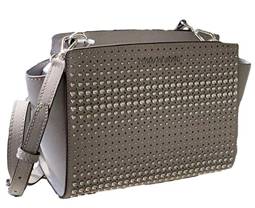 Michael Kors grey crossbody bag | Michael Kors Medium Stud Selma Leather Messenger - Pearl Grey