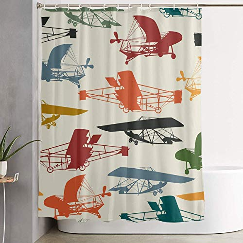 FaceTi Free Vintage Airplane Clipart Home Polyester Shower Curtain Waterproof Bathroom Decor Sets with Hooks 60x72 inch