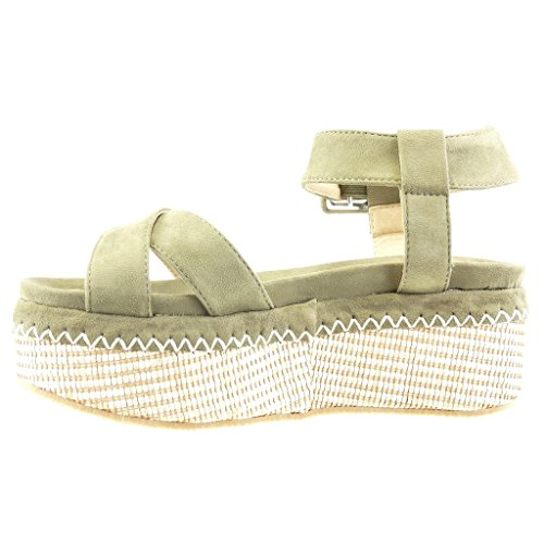 Angkorly - Chaussure Mode Sandale Mule plateforme femme tréssé lanière boucle Talon compensé plateforme 7 CM - Vert