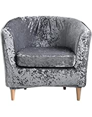 Stretch Club Chair Slipcover 2-Piece Tub Chair Cover Golden Diamond Velvet Club Chair Slipcover Non Slip Furniture Protector with Elastic Bottom Super Soft Couch Cover for Hotel Bar Counter Living Room