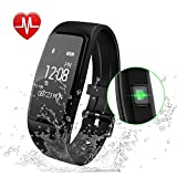 Fitness Tracker Waterproof - GULAKI Smart Bracelet Exercise Watch with Sleep Heart Rate Monitor Step Activity Tracker Workout Smart Watch for Android & iPhone (Black Watch)