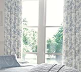 "FLORAL TOILE ROSE BLUE 66X72"" 168X183CM COTTON BLEND LINED PENCIL PLEAT CURTAINS DRAPES"