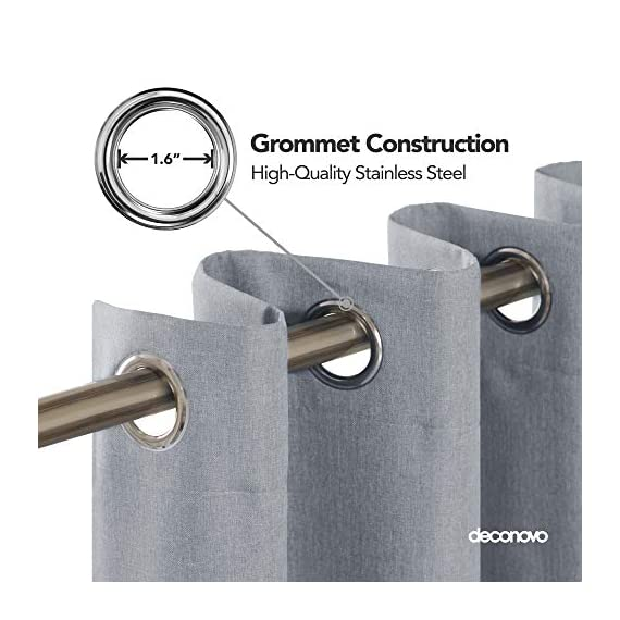 Deconovo Complete Blackout Curtains Faux Linen Thermal Insulated Room Darkening Energy Saving Noise Reduction Grommet Draperies for Small Window Grey 52W x 54L Inch Set of 2 - Available in 5 different colors and 6 sizes options(52x45 inch, 52x54 inch, 52x63 inch, 52x72 inch, 52x84 inch, 52x96 inch). Please select the appropriate products according to your requirements. Deconovo faux linen blackout curtains are made from 100% high quality polyester fabric, imported. These blackout curtains with coating layer, faux linen fabric and a thin layer of fabric was added to the back of the coating, so as to enhance their blackout and insulating functinons. Deconovo total blackout curtains are soundproof, so it can reduce noise and offer you a real dark envirnment and bring you a good sleep during the day time and night. - living-room-soft-furnishings, living-room, draperies-curtains-shades - 51PbQ7Qmg5L. SS570  -