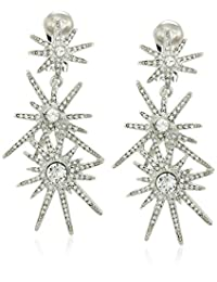 Kenneth Jay Lane Silver and Crystal 3 Starburst Clip Drop Earring