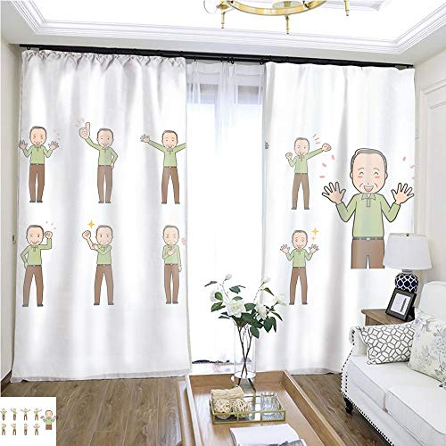 Cartoon Curtain Series Diverse Set of Elderly Man EPS10 Vector Format vol 2 W72 x L80 2524 Loop Curtain Panels Highprecision Curtains for bedrooms Living Rooms Kitchens etc.