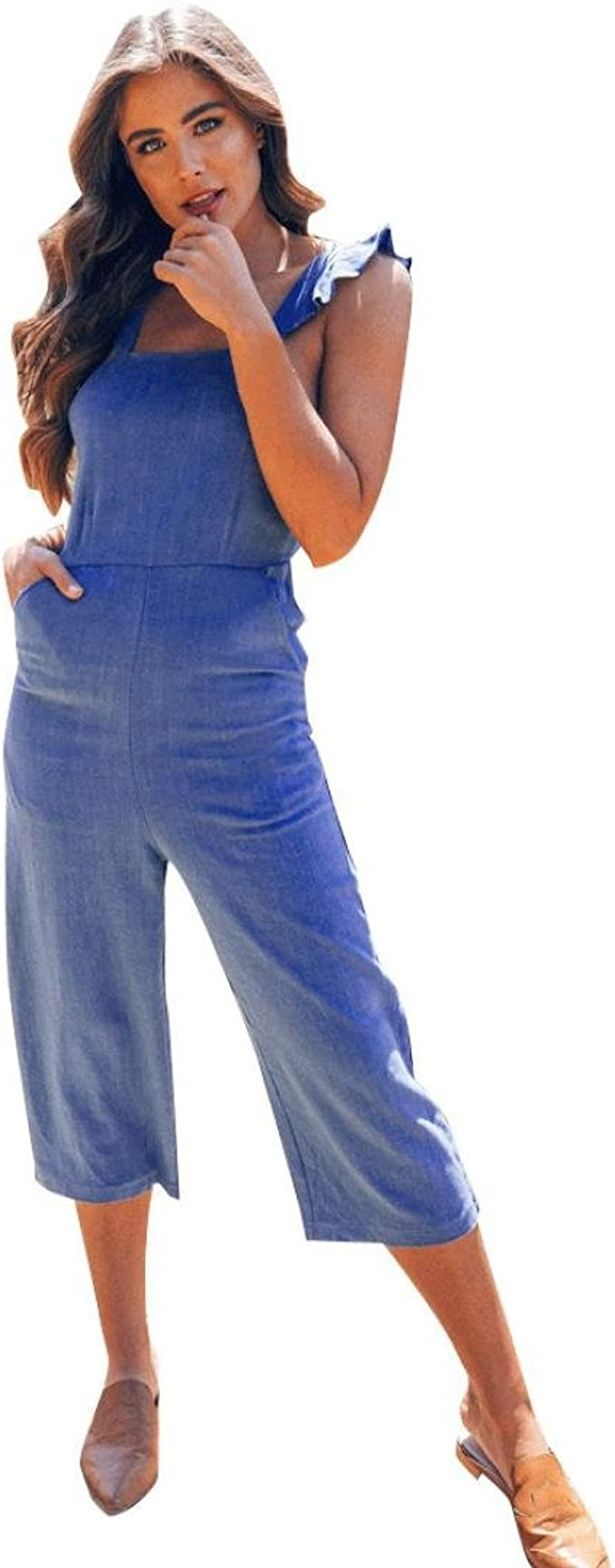 Eledobby Womens Casual Dungarees with Pockets Cotton Sleeveless Jumpsuits Ladies Lounge Wear Rompers Wide Legs Loose Playsuit Vintage Autumn Clothes