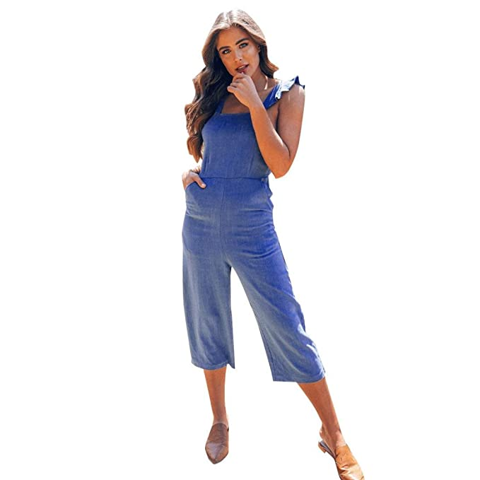 887ce5aa24 Amazon.com  RAISINGTOP Women Clubwear Loose Party Casual Evening Ladies  Sleeveless Jumpsuit Dungarees Overalls 3 4 Length Jeans Look  Clothing