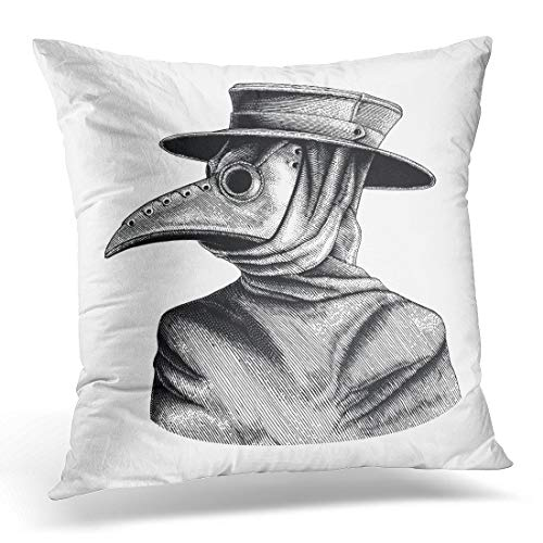 Emvency Throw Pillow Cover Black Mask Plague Doctor Vintage Engraving Isolate on White Decorative Pillow Case Home Decor Square 18