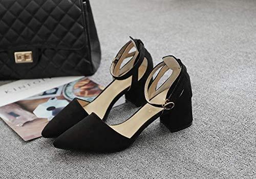 scarpe donna tacchi scarpe black spillo 36 KOKQSX e 5 spesso i medio tacchi di da cm fibbie scarpe solo a a punta xTSSwqpHA