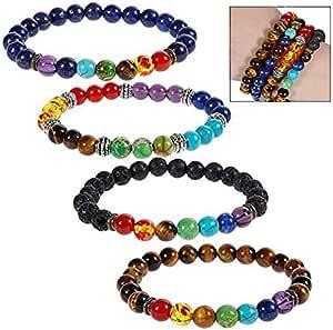 iwobi 4 PCS Pulsera de Lava,Beads Pulsera para Hombres Mujeres Pulsera de Yoga, Pulsera de Buda con Piedras Naturales de Lava y Ojo de Tigre y Ónix