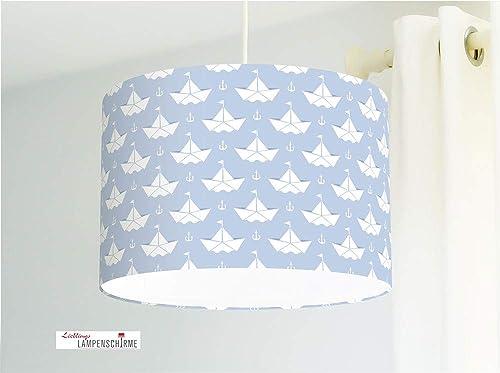 Lámpara para habitación infantil con barquitos de papel en azul grisáceo de tela de algodón - todos los colores posibles - de Alemania: Amazon.es: Handmade