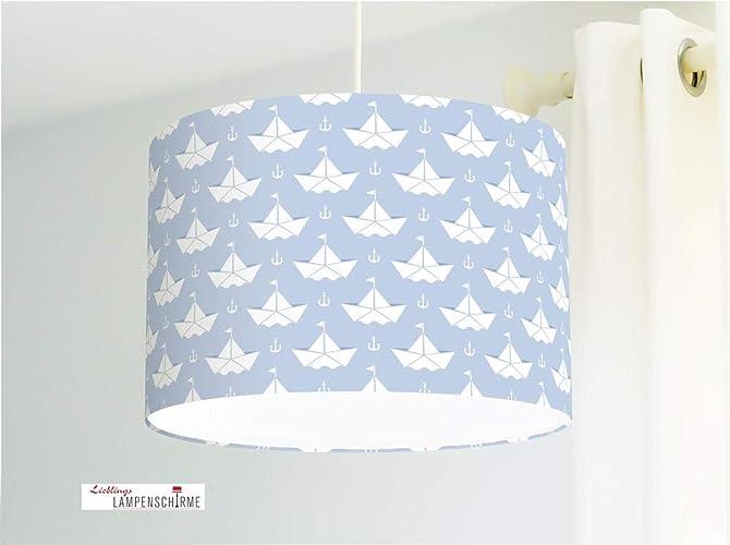 Lámpara para habitación infantil con barquitos de papel en azul ...