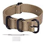 Ritche 18mm Khaki Nato Strap With Black Heavy Buckle Replacement Timex weekender watch band