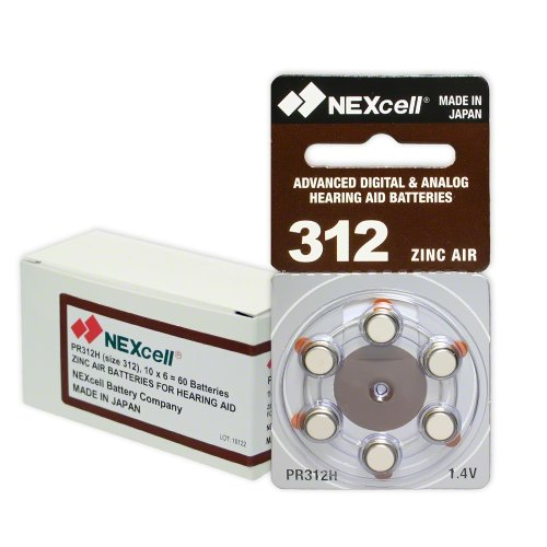 NEXcell Hearing Aid Batteries Size 312, PR41 (60 Batteries) by NEXcell (Image #1)