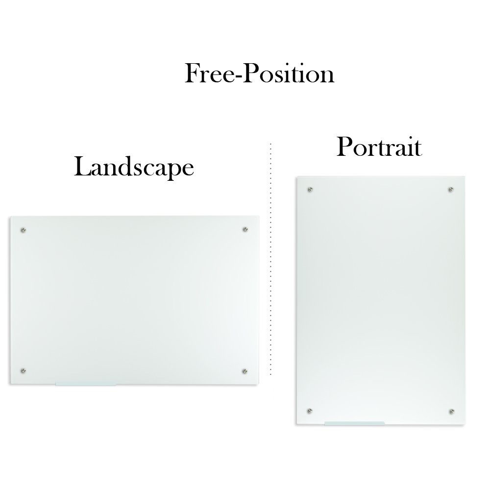 Lockways Glass Dry Erase Board – Ultra Whiteboard/White Board 36 x 24, Frameless, Clear Marker Tray, for Office, Home, School by Lockways (Image #2)