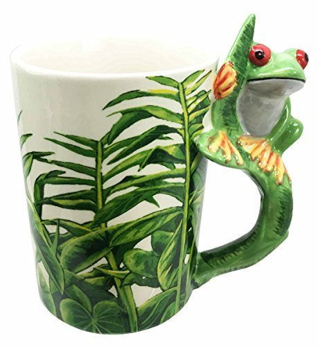 Tropical Rainforest Green Tree Frog Toad 12oz Ceramic Mug Coffee Cup Home & Kitchen Decor Accessory