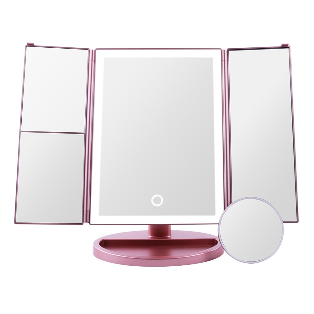 Docolor LED Vanity Mirror Make up Tri-Fold with 24Pcs Lights 180 Degree with Magnification Mirror
