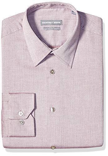 Geoffrey Beene Men's Slim Fit Flex Collar Stretch Solid, Deep Red, 16