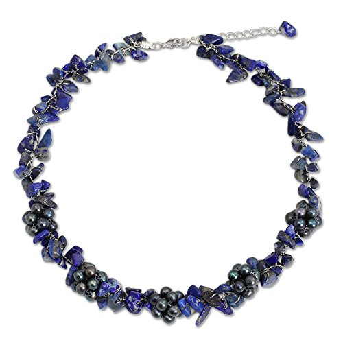 NOVICA Lapis Lazuli Dyed Gray Cultured Freshwater Pearl Silver Plated Beaded Necklace 'Heaven's Gift'