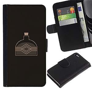 YiPhone /// Tirón de la caja Cartera de cuero con ranuras para tarjetas - La caldera del agua - Apple Iphone 4 / 4S