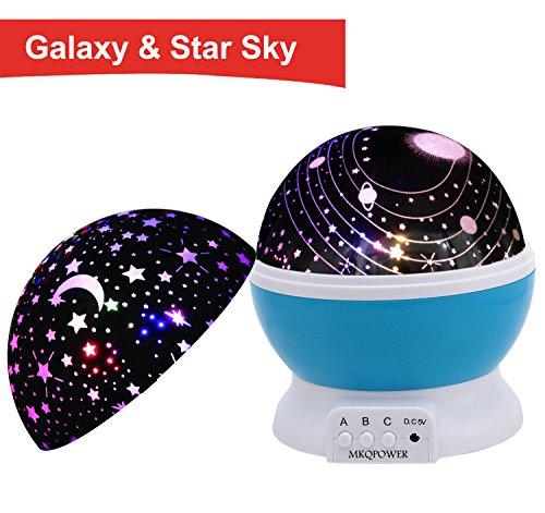 Sternenhimmel Projektor,MKQPOWER Sterne-Beleuchtungslampe 4 LED-Korne 362 Grad Romantik Zimmer Rotating Kosmos-Stern-Projektor für Weihnachten