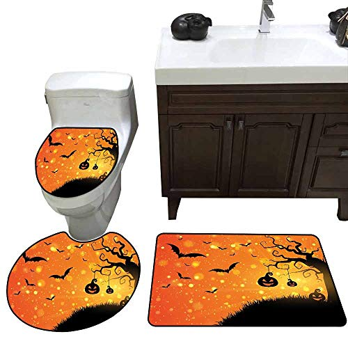 3 Piece Anti-Slip mat Set Halloween Magical Fantastic Evil Night Icons Swirled Branches Haunted Forest Hill 3D Digital Printing Rug Set Orange Yellow Black -