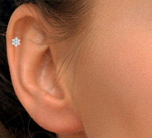 Natural Diamond 14k Gold Flower Nose Lip Labret Monroe Ring Stud Screw (6 mm long post) by Demira Jewels (Image #4)