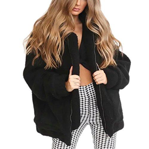Viport Women's Warm Faux Fur Oversized Coat Fluffy Outwear Jacket Black Large