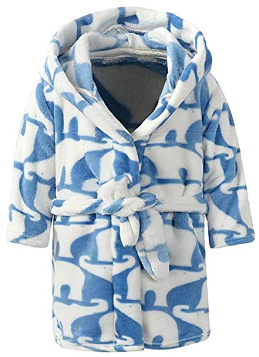 Ameyda Toddlers/Kids/Baby Soft Fleece Robe Bathrobe with All Over Print Elephant ()
