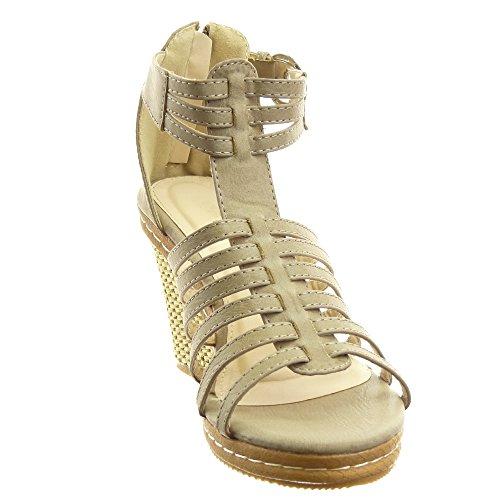 Sopily - Chaussure Mode Sandale Spartiates hauteur cheville femmes multi-bride boucle Talon compensé plateforme 9.5 CM - Khaki