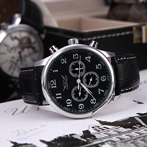 Amazon.com: Anself Jaragar Automatic Mechanical Men?s Analog Black Dial 6 Hands Sport Leather Wrist Watch 12/24 Hours Display Black: Kitchen & Dining