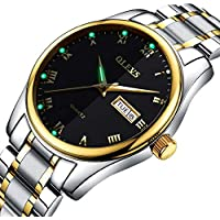 Mens Watches with Day and Date,Men's Dress Wrist Watch Casual Classic Stainless Steel Quartz Watch,Roman Numeral Watches for Men Black Calendar Wristwatch for Man,Mens Luminous Watch