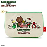Sanrio LINE FRIENDS & Hello Kitty flat pouch Hello Kitty Town From Japan New